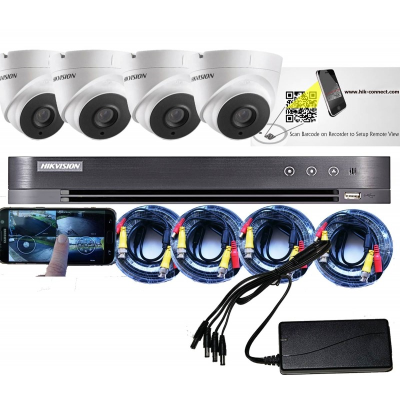 4 Camera CCTV Kit with 5MP Cameras from HIKVision