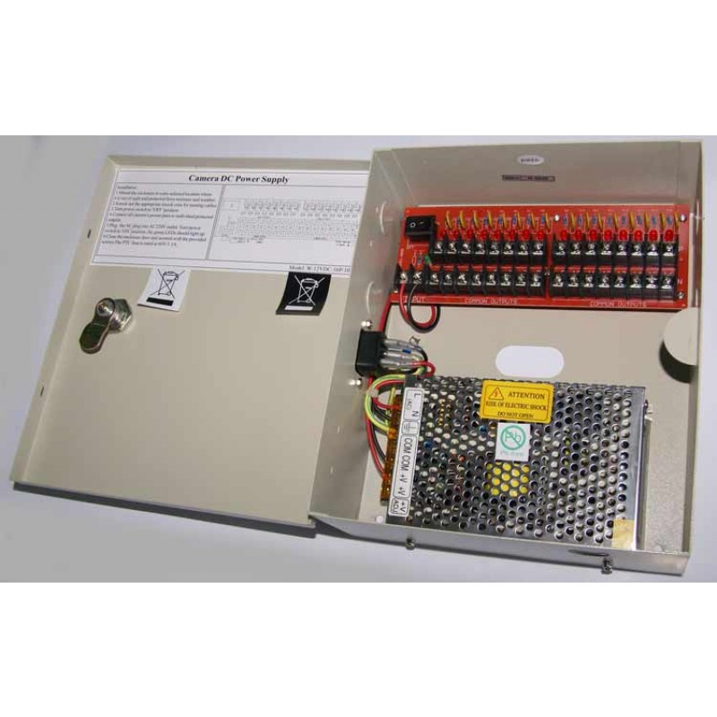 16 output 10 Amp 12 Volt Individually Fused Power Supply