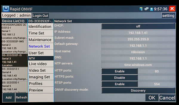 TESTER7-IP-3HD configuring HIKVision IP Cameras using the CCTV test meter
