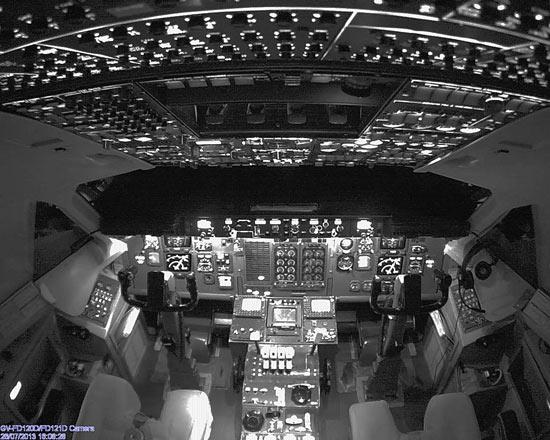 IP HD camera in Very Dark Cockpit of aeroplane
